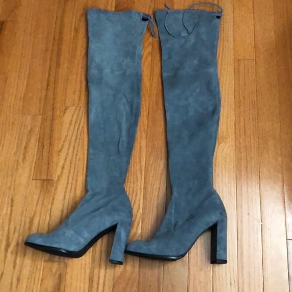 43461499597 Stuart Weitzman Hiline Denim Blue Suede Boots sz 8.  M 5b5e8896dcfb5a769f577cd8